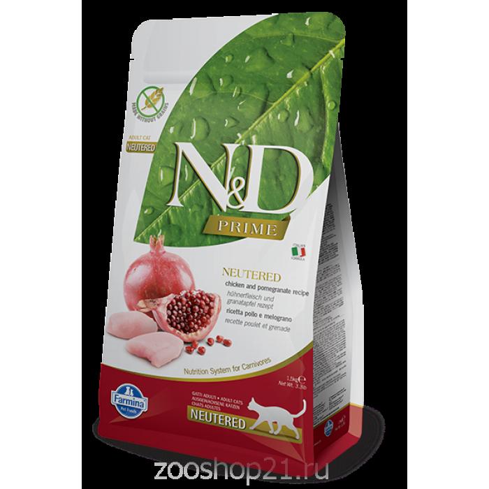Корм Farmina N&D Chicken & Pomegranate Neutered беззерновой для стерилизованных кошек курица с гранатом, 1.5 кг